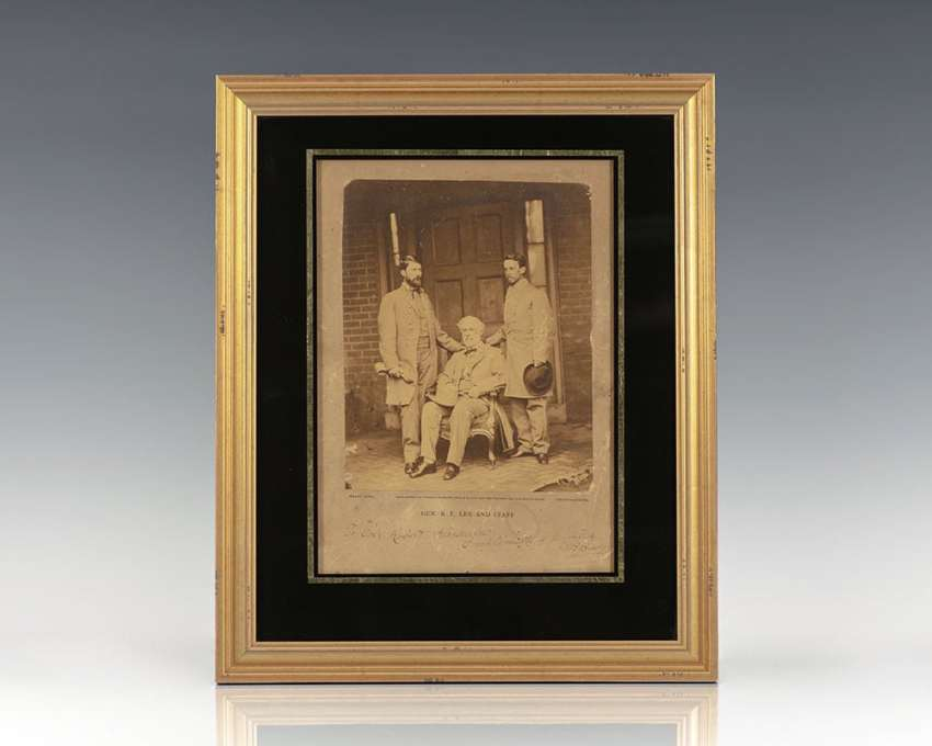 Original Photographic Portrait of Robert E. Lee Signed by Mathew Brady.