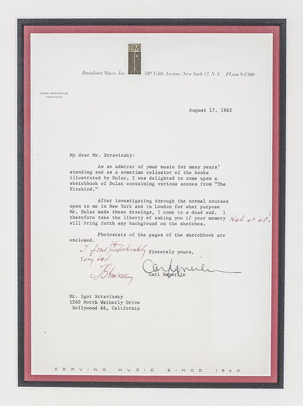 Autographed Letter Signed From Carl Haverlin To Igor Stravinsky.