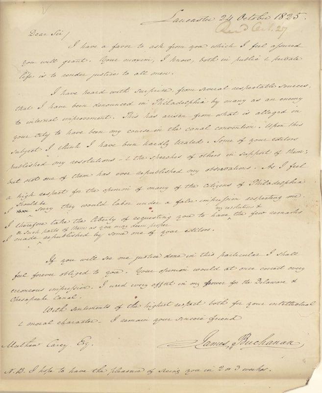 James Buchanan Autograph Letter Signed.
