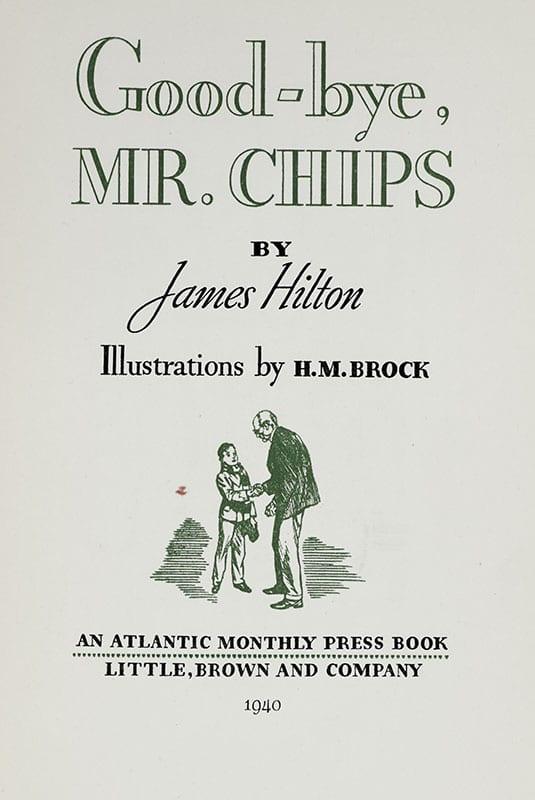 Good-bye, Mr. Chips James Hilton Signed