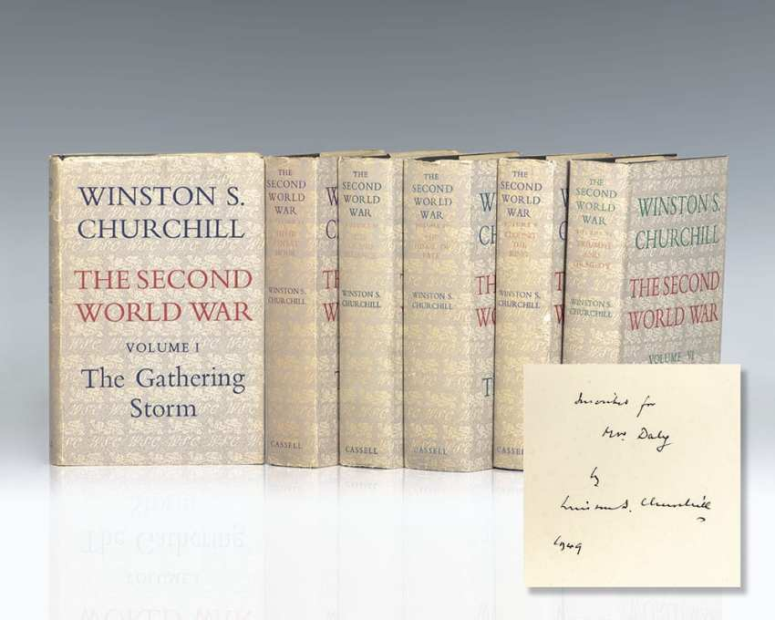 First editions of Churchill's World War II masterpiece The Second World War; inscribed by Churchill