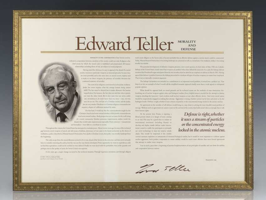 Morality and Defense: Edward Teller Autograph Document Signed.