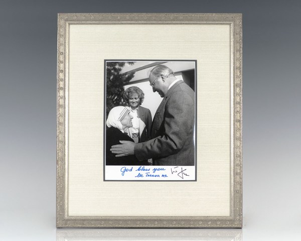 Mother Teresa and Helmut Kohl Signed Photograph.