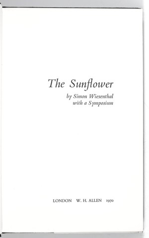 The Sunflower: On the Possibilities and Limits of Forgiveness.