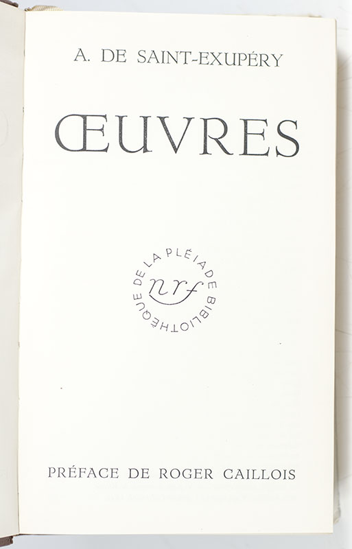 Oeuvres d'Antoine de Saint-Exupery, Including Le Petite Prince and Courier Sud.