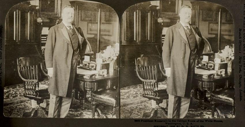 Original Theodore Roosevelt 'Perfec' Stereograph Card.