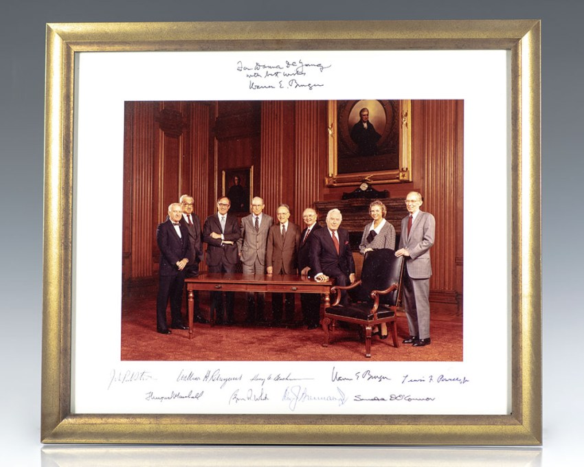 Warren E. Burger Supreme Court Signed Photograph.