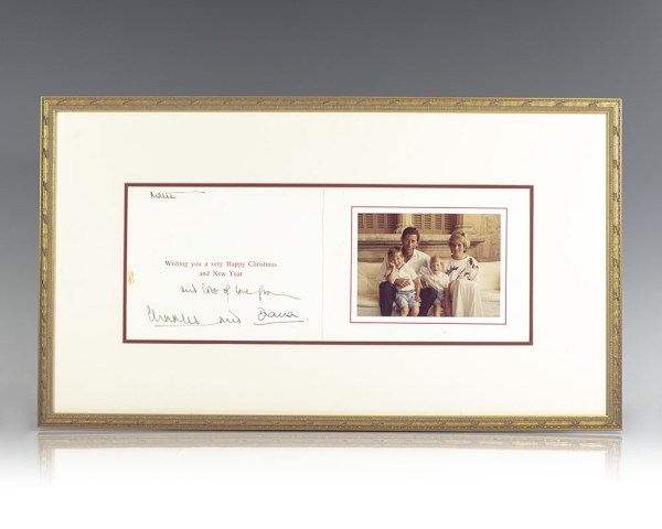 Princess Diana Signed Christmas Card.