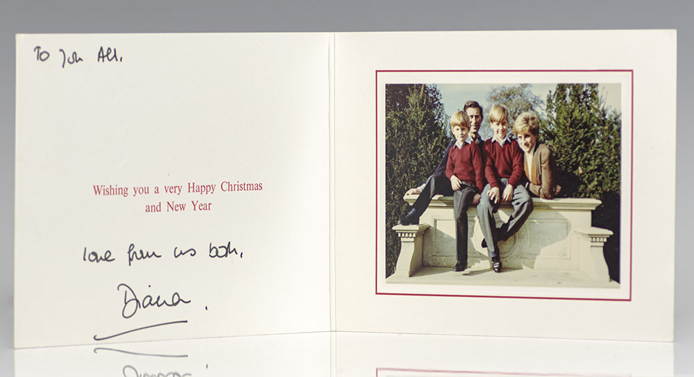 princess diana signed 1992 christmas card usd