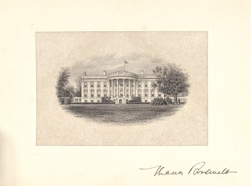 Eleanor Roosevelt White House Signed Engraving.