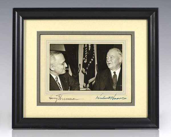 Signed Photograph of Presidents Herbert Hoover & Harry S. Truman.