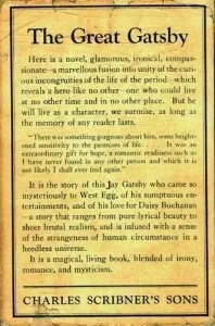 "The first issue jacket of the Great Gatsby, with the lowercase j in ""Jay"""