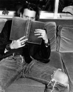 Johnny Depp reading books
