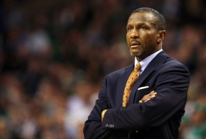 Toronto Raptors head coach Dwane Casey looks on from the bench in the second quarter of their NBA basketball game against the Boston Celtics in Boston
