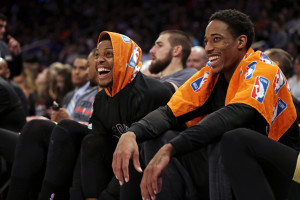 Apr 10, 2016; New York, NY, USA; Toronto Raptors guard DeMar DeRozan (right) and guard Kyle Lowry (7) react on the bench during the second half against the New York Knicks at Madison Square Garden. The Raptors defeated the Knicks 93-89. Mandatory Credit: Adam Hunger-USA TODAY Sports