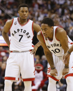 Apr 16, 2016; Toronto, Ontario, CAN; Toronto Raptors guard Kyle Lowry (7) and Raptors guard DeMar DeRozan (10) look on during the the fourth quarter against the Indiana Pacers in game one of the first round of the 2016 NBA Playoffs at Air Canada Centre. Indiana defeated Toronto 100-90. Mandatory Credit: John E. Sokolowski-USA TODAY Sports