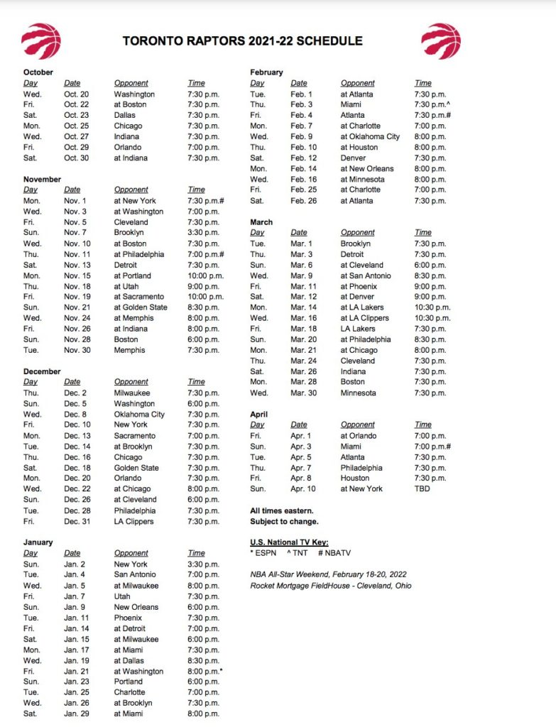 El calendario de los Raptors para la temporada 2021-22.