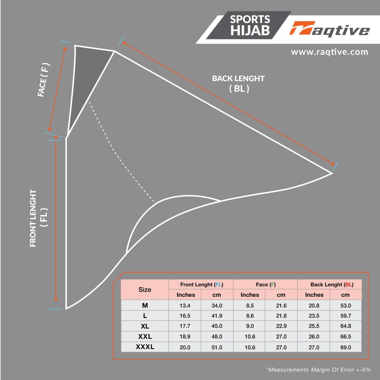 raqtive sports hijab size chart