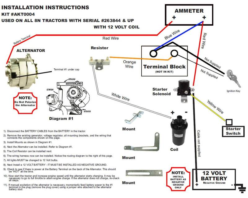 vw alternator conversion wiring diagram invisible fence gps new generator kit late model ford 8n tractors akt0004