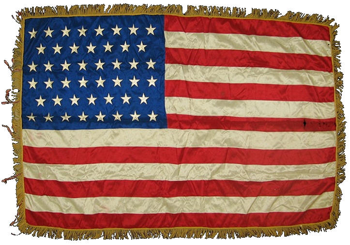 46-star flag used after Oklahoma became the 46th state in 1907. This flag remained in use for four years. RareFlags.com image