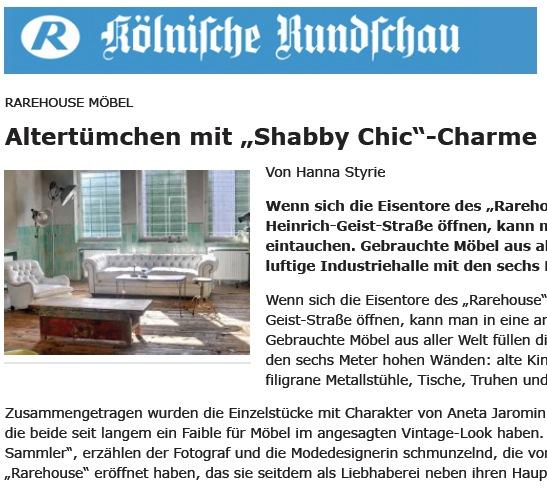 Rarehouse in der RUNDSCHAU Rhein-Erft