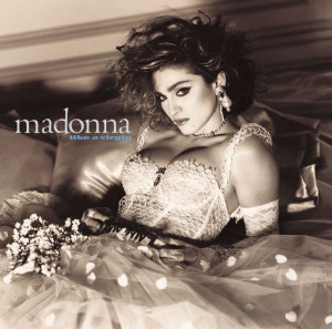 "The album cover for Madonna's ""Like a Virgin"""
