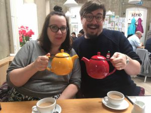 Lou and Ed (unsurprisingly) ordered tea at the Cornerstone Caf� in Woolwich
