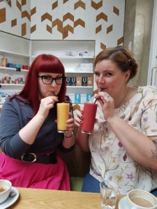 Lori and Eleanor enjoying smoothies at the Cornerstone Caf� in Woolwich