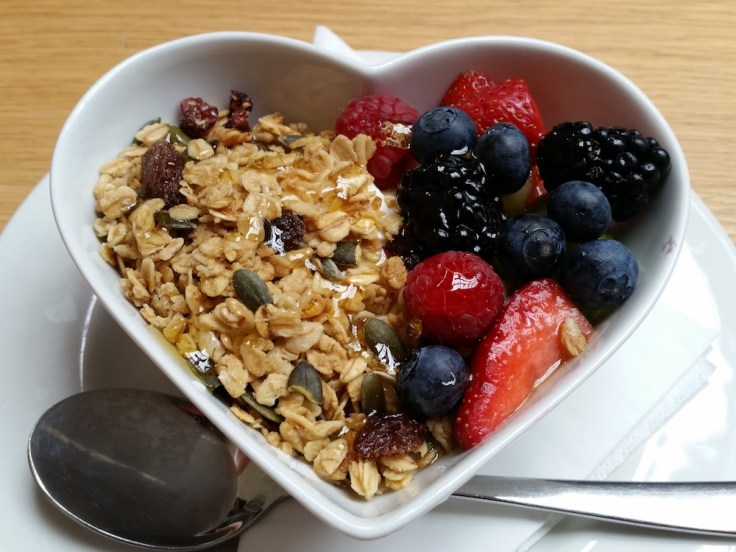 Granola, yoghurt, fruit and honey at the Cornerstone Caf� in Woolwich