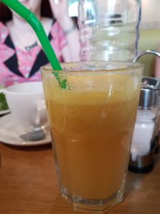 Lou's orange, apple and lime juice at Mildreds