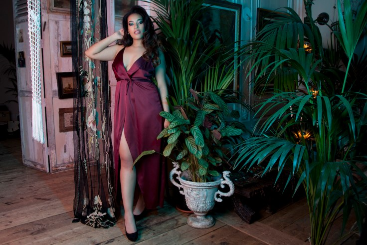 'Reina' wine satin chemise by Playful Promises