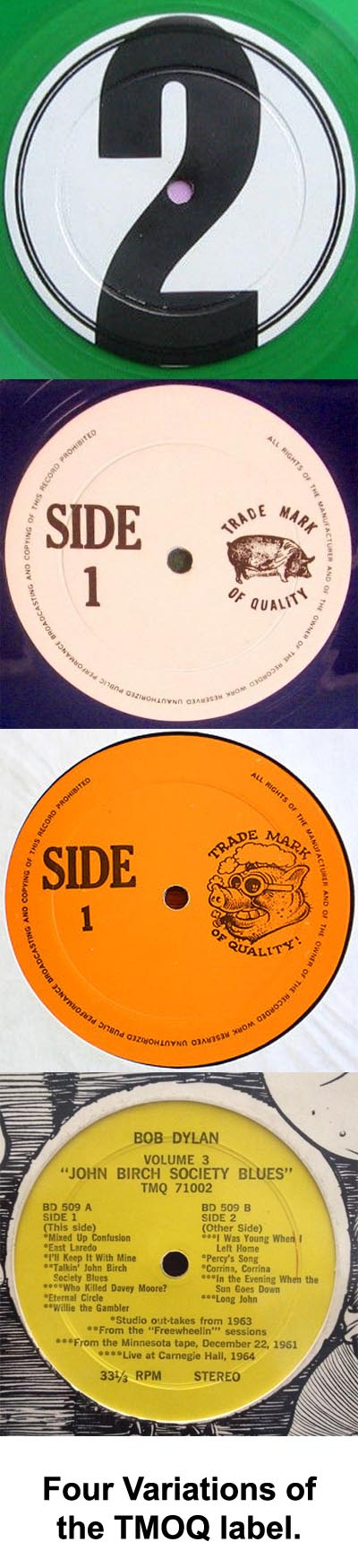Various labels used by Trademark of Quality