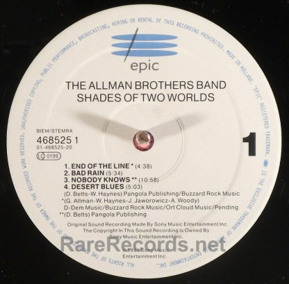 Allman Brothers - Shades of Two Worlds 1991 Dutch LP