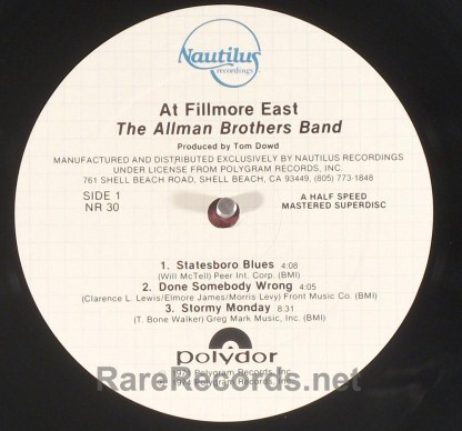 Allman Brothers - Fillmore East Nautilus audiophile 2 LP set