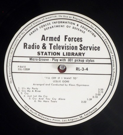 Lesley Gore - I'll Cry if I Want to rare mono Armed Forces promo LP