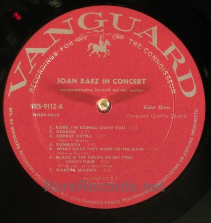 Joan Baez - In Concert 1962 mono LP