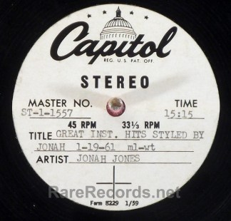 Jonah Jones - Great Instrumental Hits Styled By Jonah Jones 1961 stereo acetate