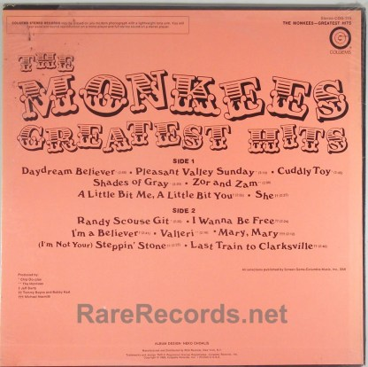 Monkees - Greatest Hits sealed 1969 Colgems LP