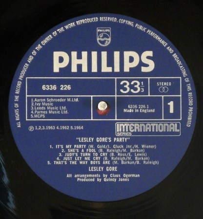 Lesley Gore - Lesley Gore's Party UK compilation LP