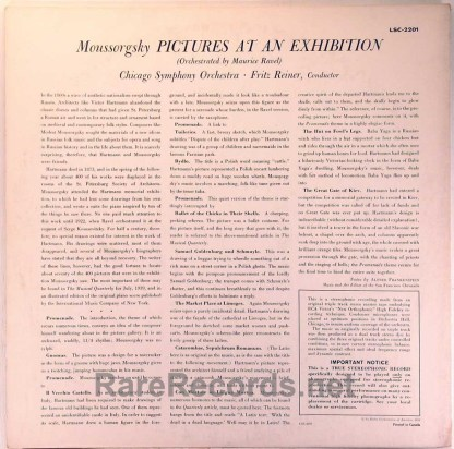 Reiner/CSO - Pictures at an Exhibition Canada Living Stereo LP