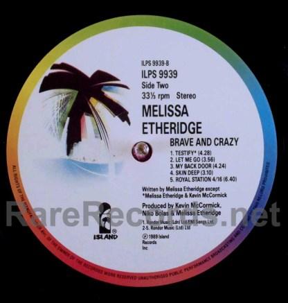 melissa etheridge - brave and crazy uk lp