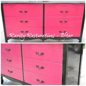 Magenta and Black French Provincial Dresser - After