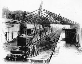 Market Rasen station, removal of roof 1941
