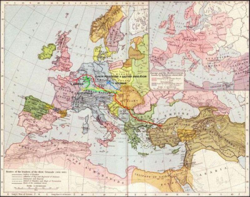 Први крсташки рат, Карта. Мапа