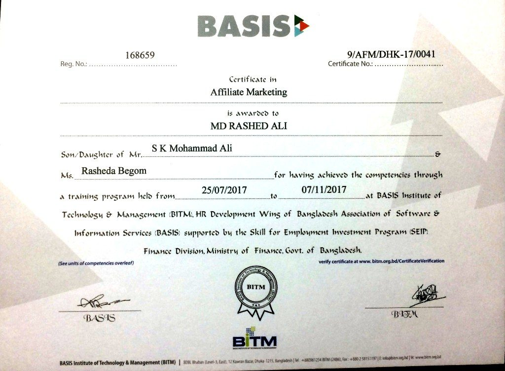bitm affiliate marketing certificate