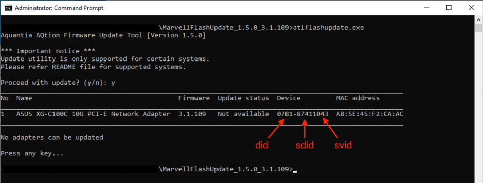 Marvell Aquantia AQtion firmware update tool screenshot to get DID, SDID, SVID.