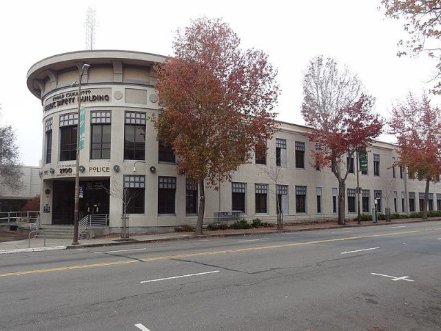 The Berkeley Police Department is located on MLK Jr Way near Civic Center Plaza.