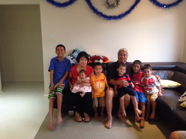 Lola Femy and Lolo Job with all 6 grandkids