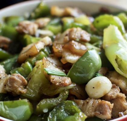 Pork with green peppers recipe