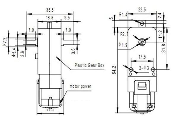 Motore TT DC 3 - 6V Doppio Asse Riduzione 1:48 Smart Car, Rover, Robot